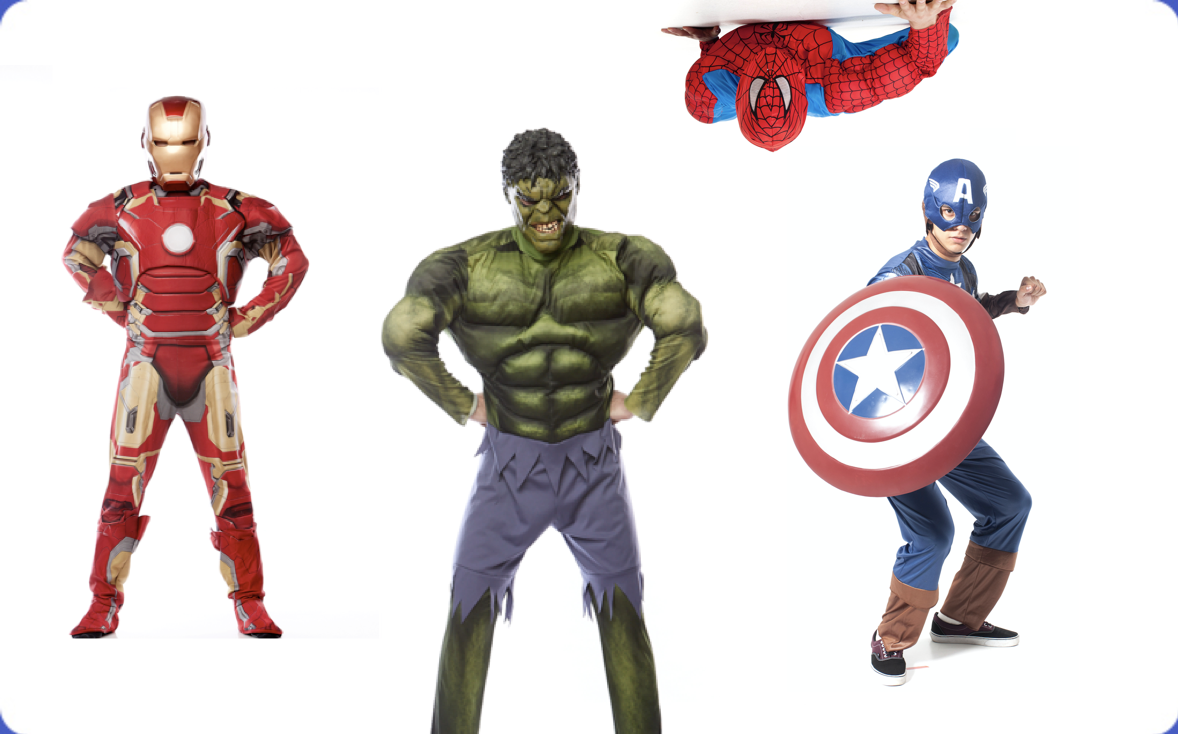 Avengers, Iron Man, Spiderman, Captain America, Hulk